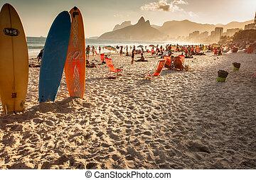playa, tarde, ipanema, vista, brasil