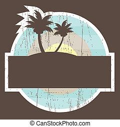 playa tropical, bandera
