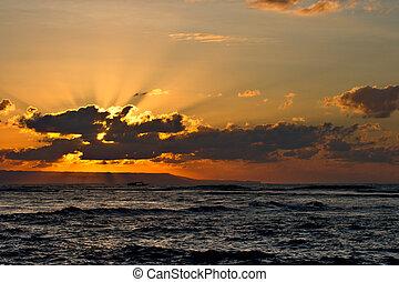 playa tropical, calma, salida del sol, océano