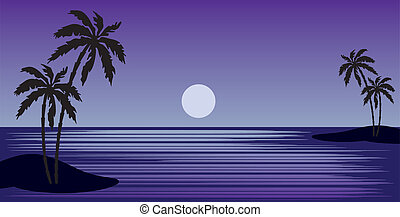 playa tropical, con, árboles de palma