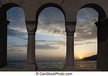 playa tropical, en, ocaso, en, mar egeo, grecia, -, naturaleza, plano de fondo