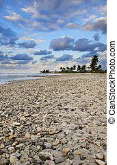 playa tropical, escena, ocaso, cuba