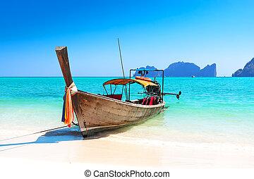 playa tropical, largo, barco