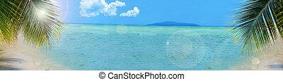 playa tropical, plano de fondo, bandera