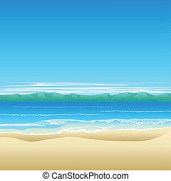 playa tropical, plano de fondo, ilustración