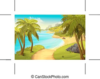 playa tropical, vector, plano de fondo