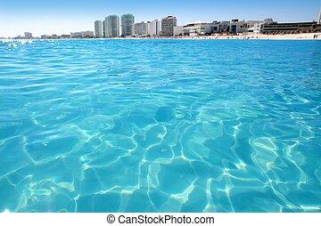 playa, turquesa, caribe, cancun, vista