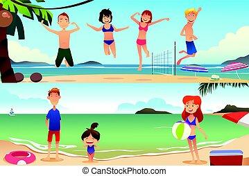 playa, vacaciones, familia