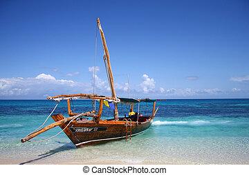 playa, velero, océano