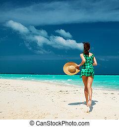 playa, verde, mujer, vestido