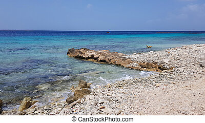 playa, vista, costero, bonaire