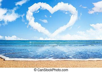 playa, y, sea., corazón, de, nubes, en, sky., símbolo del...
