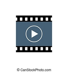 Playback button icon, video movie play vector isolated on white background