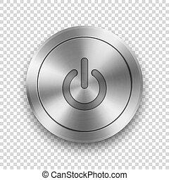 playback, knob., vettore, sagoma, app, metallico, inizio,...