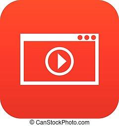 playback, programma, video, digitale, rosso, icona