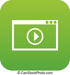 playback, programma, video, digitale, verde, icona