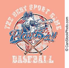 PlayBall baseball crack paint - baseball sport vector for...