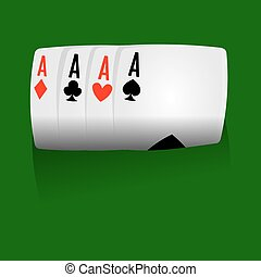 Playcards combination of four aces on green field