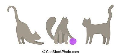 played., 3, セット, 糸, プレーする, ミニ, style., かわいい, 子ネコ, 平ら, ベクトル, 紫色, 立つ, 伸張, グレーの猫, looks., クリップ, ネコ, 芸術, ボール