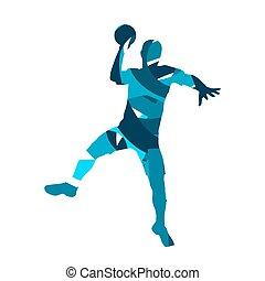 player., シルエット, ハンドボール, ベクトル, 抽象的, 青