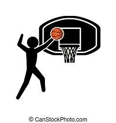player basketball and basket silhouette