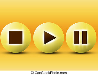 player buttons on white background - 3d illustration