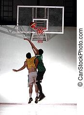 Player defect jump for block score in stadium