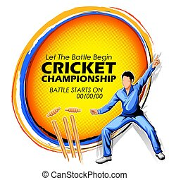 Player fielding in cricket championship sports -...