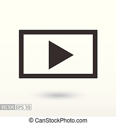 Player flat Icon. Sign video player