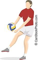 player., freigestellt, volleyball