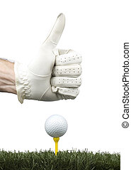 player gesturing ok with golf ball in the tee