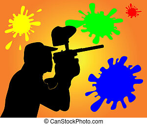 player in a paintball - Black silhouette of the player in a...