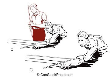 Player in billiards. Vector illustration.