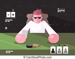Player in cards with poker face