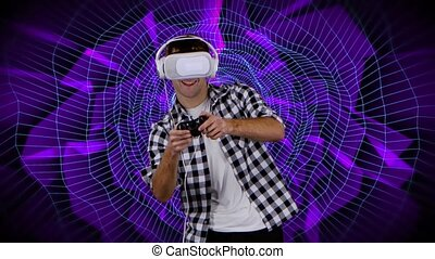 Player in virtual reality glasses playing on computer...