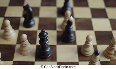 Player moves black queen and take white pawn