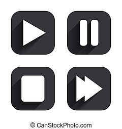 Player navigation icons. Play, stop and pause.