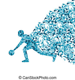 Player playing bowling silhouette vector background concept
