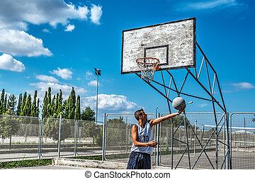 Player shooting a basketball