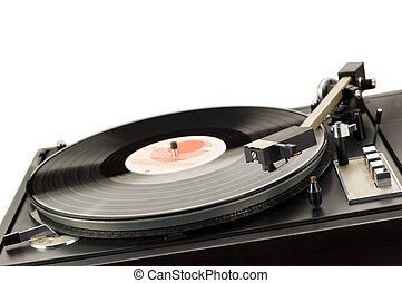player - close up shot of vinyl player on white