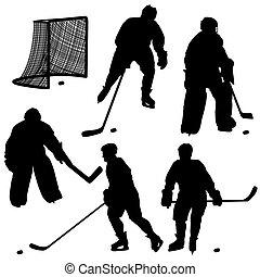 player., sylwetka, hokej, komplet