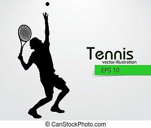 player., tennis, silhouette