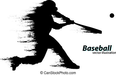 player., vettore, silhouette, illustrazione, baseball