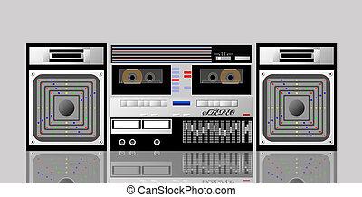 player., vieux, cassette