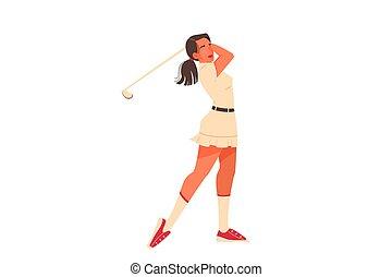 player., vrouwlijk, vasthouden, illustratie, vrouw, golf, ...
