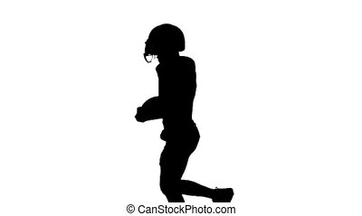 Player wearing a helmet is running with the ball in his hands. Silhouette. White background. Slow motion