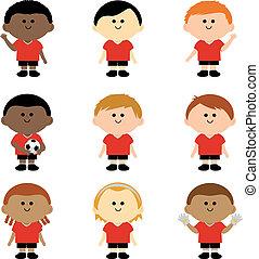players., abbildung, vektor, mannschaft, fußball, kinder