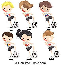 Players Cartoon Soccer set with white background