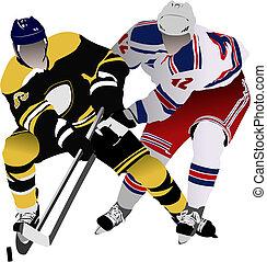 players., coloré, illustration, vecteur, hockey, concepteurs, glace