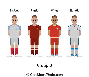 Players kit. Football championship in France 2016. Group B - England, Russia, Wales, Slovakia